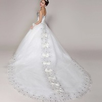 Cii 2014 Korean version of the new Korean Sexy Diamond Bra princess bride wedding dress trailing luxury big bow