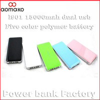 Freeshipping HK/sweden retail L901 only external battery real capacity for android phone portable polymer power bank 15000mah