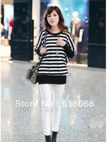 Free Shipping 2013 New Autumn Korean Style Women's Long-sleeve T-shirt Stripped Casual Basic Shirt Plus Size T-shirt