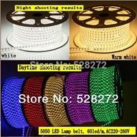 100m/roll,AC 220V 5050 SMD flexible waterproof LED Strip+3 plug,60LEDs/m,Red/Green/Bule/Purple/RGB led tape