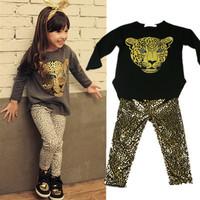 2014 children clothing set baby set cartoon Full suit children' clothing girl leopard baby kids children set yxym1709