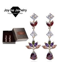 Joyme 2014 Luxury Accessories For Women Top Quality Multicolor Cubic Zircon earrings Gift Box Packing Drop Earrings