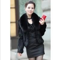 2014 Autunm and Winter women's  plus size faux fur short design mink rabbit fur coat  large fur collar long sleeve outwear