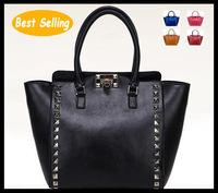 New 2013 women's genuine leather handbag fashion women's bags cowhide trend all-match rivet handbag messenger bag