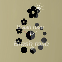 The new 2013 mirror clock fashionable individual character wall clock stereo bracket clock metope adornment circle flowers