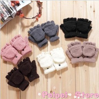 Min order $10 free shipping Hot new winter fashion 2014 cute multifunction soft velvet warm gloves half finger flip Wholesale