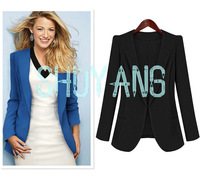 TOP quality Free shipping 2013 new autumn fashion women blazer turn-down collar slim handsome suit jacket blue black XL OM69