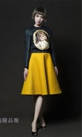 Free Shipping! Fashion autumn & winter 2013 women skirt suits lovely  doll head black tops + yellow skirt