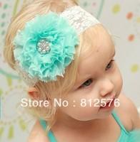 Baby girl Headband flower headband chiffon shabby ball Flowers with pearl rhinestone on girl headbands 25pcs/lot
