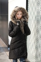 Free Ship 2013 New Arrival Women's Winter Jacket large fur collar slim medium-long down coat female Free Shipping