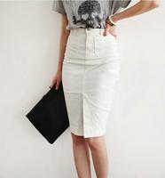 Pollera De Jeans 2013 summer woman Autumn vintage high waist slim hip placketing denim skirt bust and clipping white short step