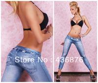 Simple Fresh Style Imitation Jeans Star Belt Print Leggings For Women Skinny Fit Torn Pants Jegging Slimming Ankle Length