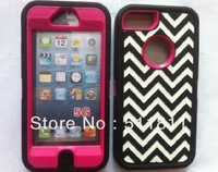 Newest High quality hybrid pc+silicone shockproof protective chevron case cover for iphone 5, free shipping by DHL