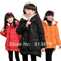 Girls winter coat winter jackets for girls children baby down jacket thickening medium-long down coat outerwear jacket