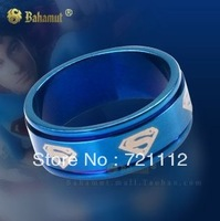 2013 new Titanium steel jewelry Superman Rings Superhero with chain Be Nacklace Free shipping