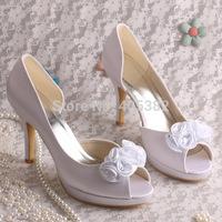 Custom Handmade Satin Wedding Shoes White Flower Bridal High Heels Peep Toes Dropship Free