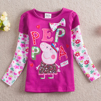 Free Shipping 2013 Fashion Baby Clothing peppa pig embroidered bow 100% cotton Girls t shirt Long sleeve t shirts for children