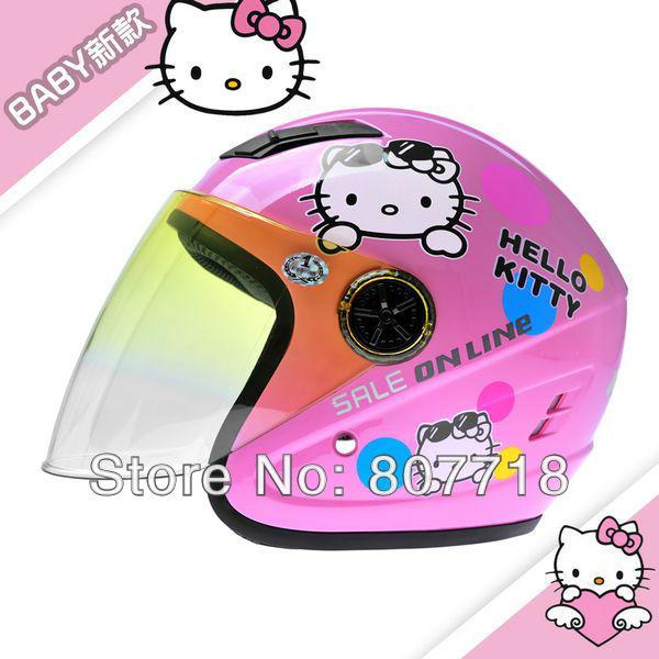 T855 Children's Motorcycle Helmet Hello Kitty Safety Helmet for Girl Cute Half Helmet Kids' Helmets 5 colors Free Shipping S7095(China (Mainland))