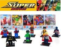 2013 NEW 8pcs Super Heroes Avengers Iron Man Hulk Batman Wolverine Thor plastic Building Block Sets ninja toys No Original Box