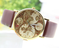 5 colors Fashion Woman Quartz Watches Leather World Map Watch wholesale Unisex watches 1pcs/lot