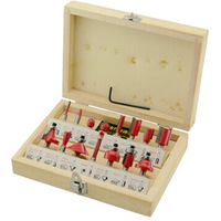 "Brand new 15PCS 1/4"" Professional Shank Tungsten Carbide Router Bit Set  heat-treated blade with Wood Case box"