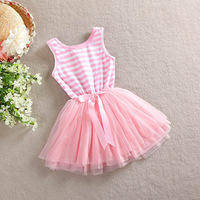 Girls new summer baby children striped tutu dresses with bow  BN502DS04