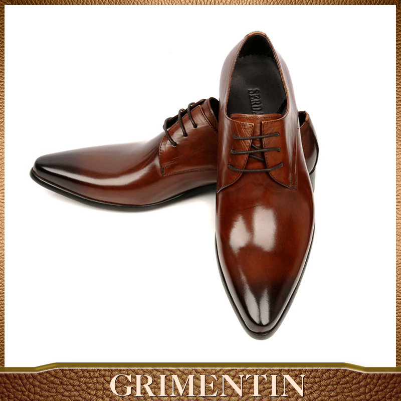GRIMENTIN luxury men leather shoe genuine leather dress wedding shoe Italy brand designer business oxfords men shoes size38-45(China (Mainland))