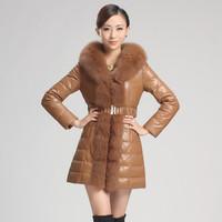 2013 genuine leather down coat leather clothing large fox fur medium-long sheepskin down coat