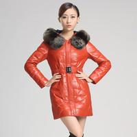 Leather clothing 2013 women's leather clothing leather down coat medium-long female genuine leather sheepskin down coat