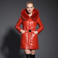 2013 ultralarge genuine leather clothing fox fur tie cap genuine sheepskin leather down coat medium-long female