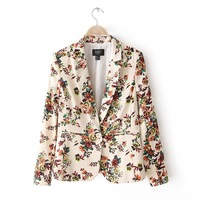 New 2013 Women's Blazer Jacket, Brand Casual Fashion Flower Printed Women Suit Jacket,Autumn-Winter Long-Sleeved Women's Jacket