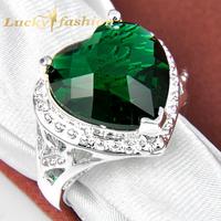 Luckyshine new 2014 fashion jewelry unique aneis femininas silver ring heart Green Amethyst wedding rings for women men