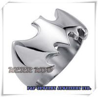 New Mens Biker Silver Tone 316L  Stainless Steel Batman Cool Bike Ring,Free shipping,R#60