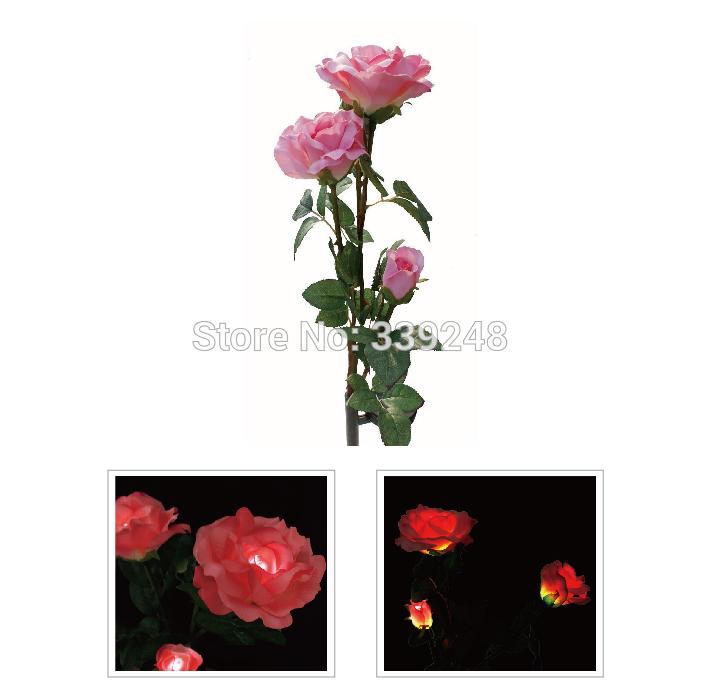 Solar Power 3 Pink Rose Flower LED Light Garden Yard Decoration Lawn Lamp(China (Mainland))