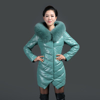 2013 Winter 100% Sheep Leather Down Coat With Big Fox Collar, Women's Leather Jacket Natural Fox Fur No. SU-1390 EMS FREE