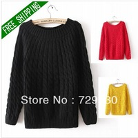EAST KNITTING Fashion Women 2013 New Retro Style Hemp Flowers Sweaters Preppy Look Pullover Tops