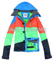 Free shipping 2013 mens color matching snowboarding jacket light ski jacket for men ski suit skiwear waterproof breathable warm