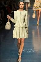 2013 To 2014 European Fashion Quality Star Woolen Set Yellow Dresses Autumn Women With XXL