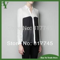 T021 Womens Blouses Fashion 2013 Spring European Large Pocket Black And White Patchwork Long Sleeve Chiffon Shirt