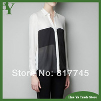 T-102 Womens Blouses Fashion 2013 Spring European Large Pocket Black And White Patchwork Long Sleeve Chiffon Shirt