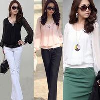 Round Neck Chiffon Blouse  Puff Sleeve Plus Size S----XL Women Clothing Fashion Top  2014 Brand New