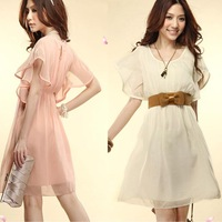butterfly sleeve Chiffon  crop top and skirt fashion clothes women 2013