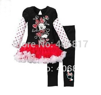 Free Shipping 2013 New Arrival Children Girl Suit Long Sleeve Cartoon Minnie Decor Patchwork Dress+Elastic Waist Pants Girl Sets