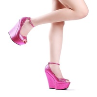 NEW 2013 women fashion sexy  platform wedges ultra high heels open toe wedding sandals shoes plus size 41