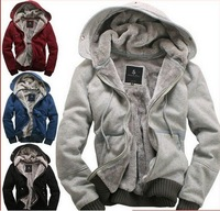 Promotional 2012 new men's plush thick warm overcoat winter coat fleece & cotton padded Jacket Men jackets 6 colors M XXXL