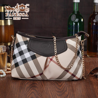 New arrival! Free shipping gentlewoman fashion plaid genuine leather women's handbag chain all-match small messenger bage totes