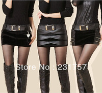 Free Shipping Hot Women's All-match Leather Shorts Corduroy Imitation Horsehair Woolen Patchwork Short Skirt Skorts With Belt