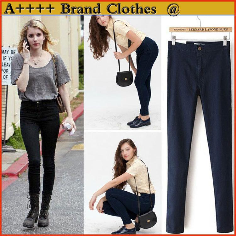 New american apparel femme jeans denim crayon à glissière directe haute- fin des compteurs droite, jeans slim femme sexy stretch jeans jeans