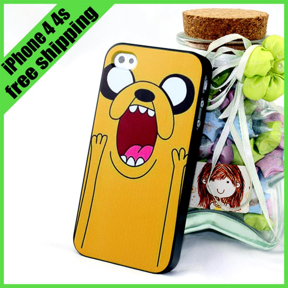 Adventure Time Cute Brand Plastic Cover Phone Case For iPhone 4 4s with Raitel Box 1 pc film as gift(China (Mainland))