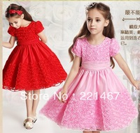 retail kid girl rose dress ,baby dress,girl birthday gift, free shipping 3269